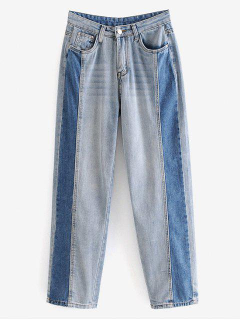 ladies Contrasting Straight Jeans - JEANS BLUE M Mobile