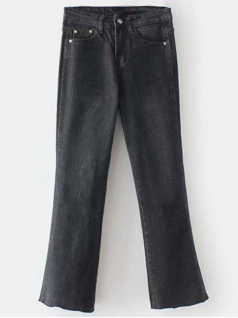 Ausgefranste Boot Cut Jeans - Schwarz XL Mobile