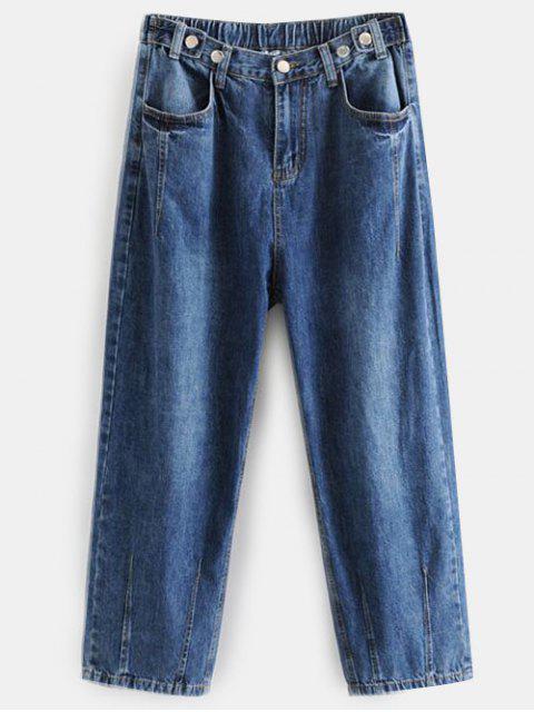 fancy Dark Wash Boyfriend Jeans - DENIM DARK BLUE L Mobile