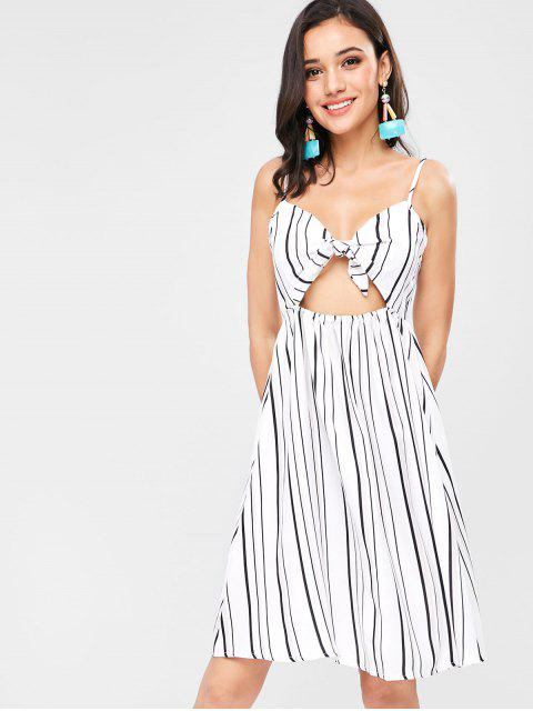 women Tie Knot Front Vertical Striped Sundress - WHITE S Mobile
