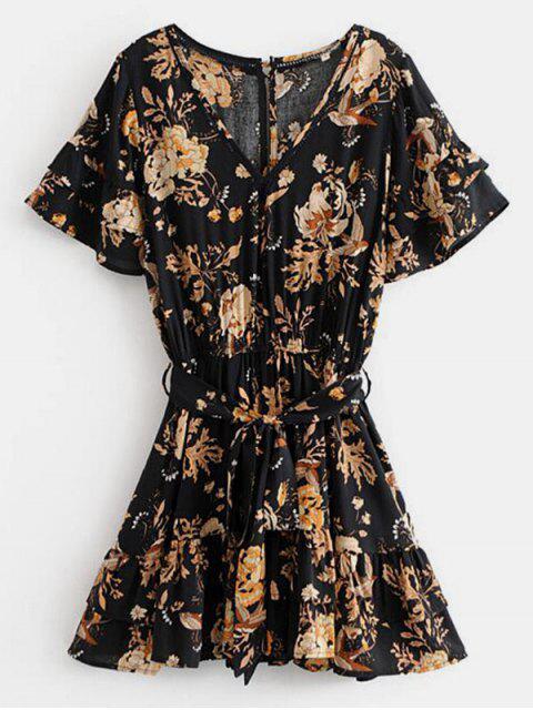 trendy Belted Floral Print V Neck Dress - BLACK M Mobile