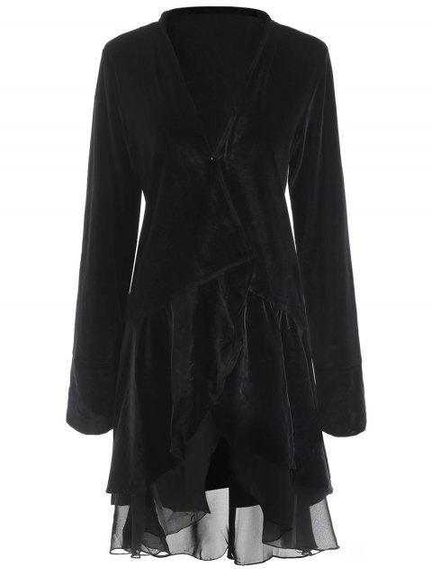 new Swingy Velvet Long Sleeve Coat - BLACK M Mobile