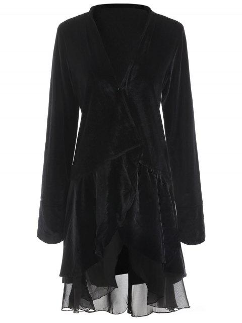 hot Swingy Velvet Long Sleeve Coat - BLACK L Mobile