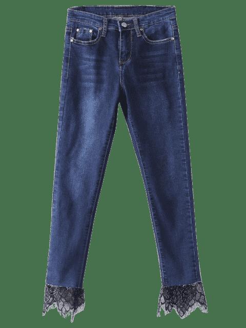 Pantalones pitillo con paneles de encaje de talle alto - Azul Oscuro de Denim XL Mobile