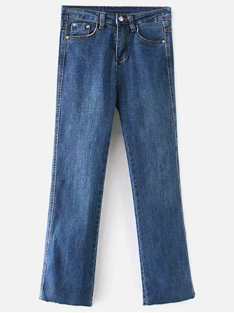 trendy Raw Hem Bootcut Jeans - DENIM DARK BLUE L Mobile
