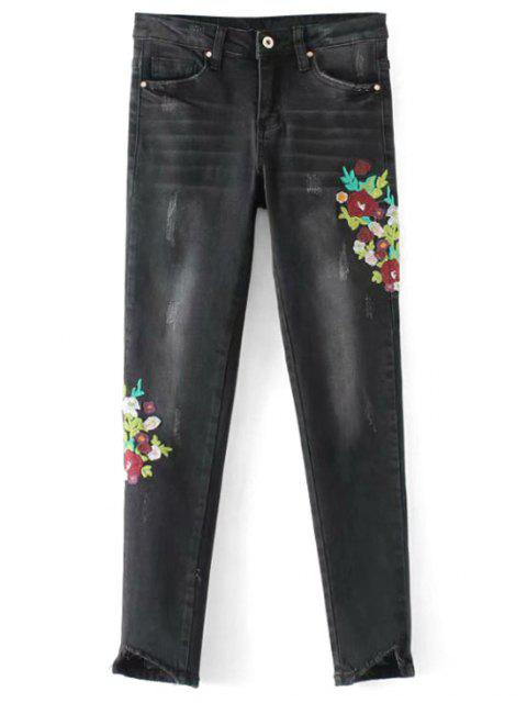 best Frayed Floral Embroidered Skinny Jeans - BLACK XL Mobile