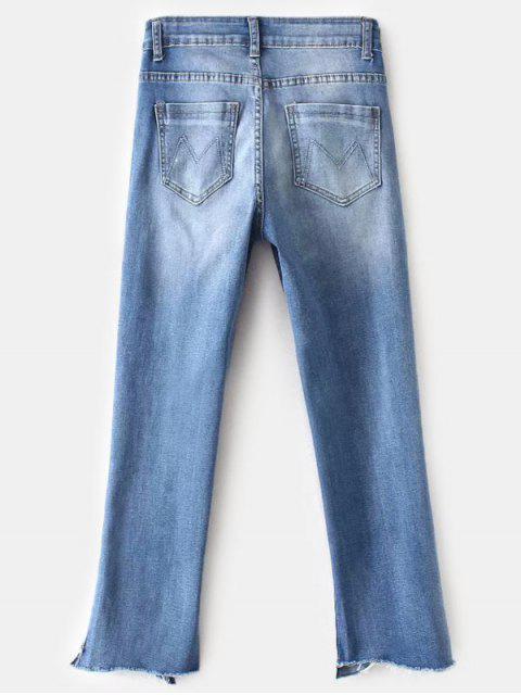 Frayed Hem Faded Boyfriend Jeans - Azul L Mobile