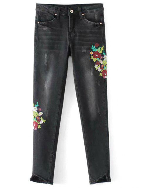 Ausgefranste Floral bestickte Röhrenjeans - Schwarz M Mobile