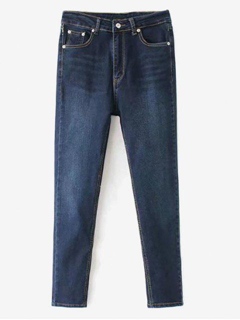Whiskered Indigo Wash Mom Jeans - Marina de Guerra M Mobile
