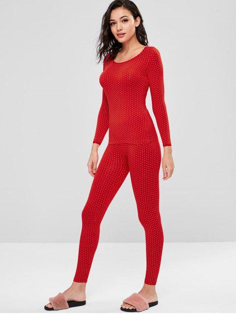 chic Printed Long Underwear Thermal Top and Pants Set - RED L Mobile