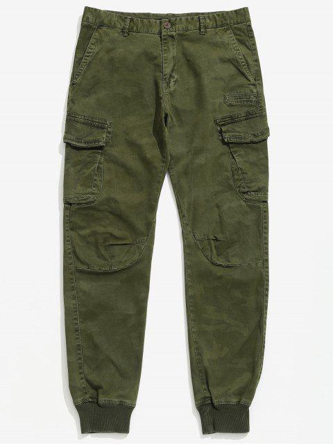 Pantalones de carga de dobladillo con puño macizo - Ejercito Verde 38 Mobile