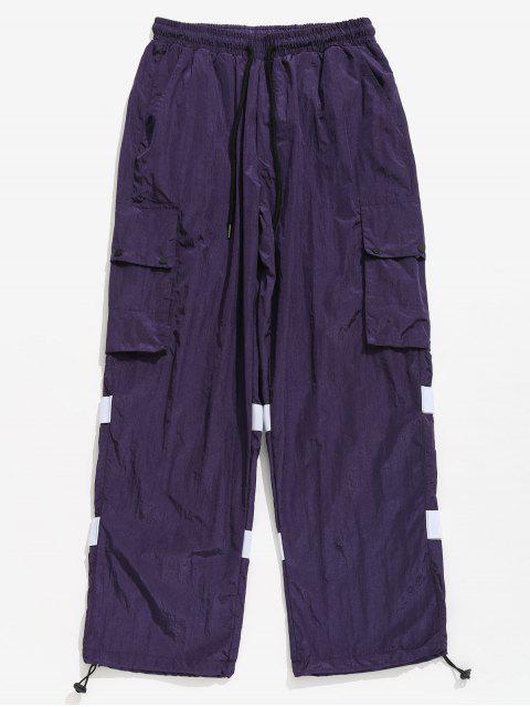 Gestreifte Druckknopf-Flecken-Taschen-Hosen - Lila Iris 2XL Mobile