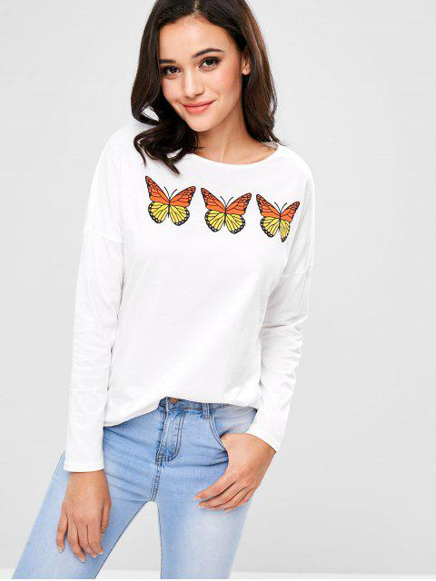 online ZAFUL Long Sleeve Butterflies Graphic Tee - WHITE L Mobile