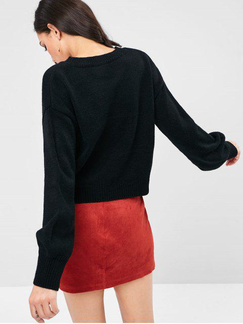 womens Lantern Sleeve Heart Graphic Valentine Sweater - BLACK L Mobile