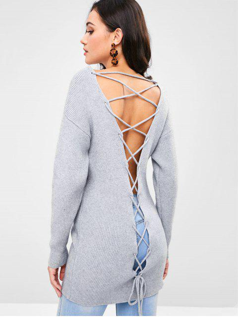 ladies ZAFUL Lace-up Plunge Tunic Sweater - GRAY L Mobile