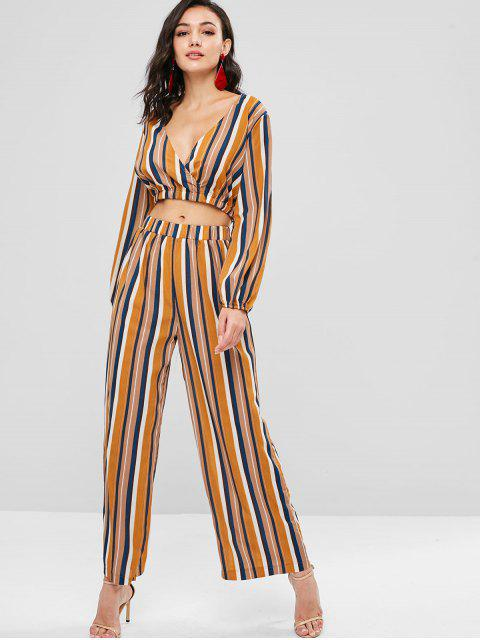 chic ZAFUL Striped Top and Loose Pants Set - MULTI S Mobile