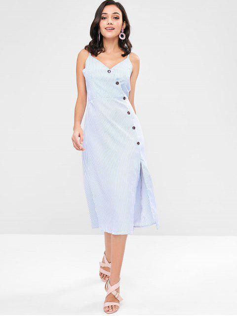 ZAFUL Robe Mi-Longue Rayée Boutonnée - Bleu Ciel L Mobile