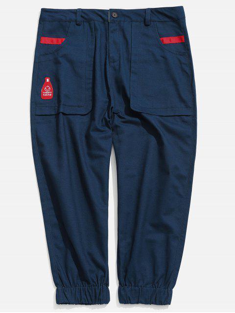 latest Applique Pockets Casual Jogger Pants - NAVY BLUE L Mobile