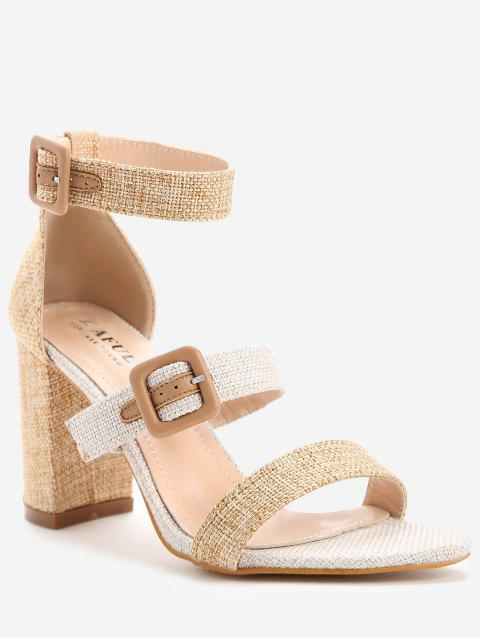 online ZAFUL Buckle Strap Chunky Heel Sandals - APRICOT 40 Mobile