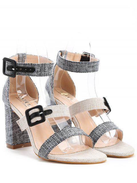 shop ZAFUL Dual Buckle Chunky Heel Linen Sandals - BLACK 39 Mobile