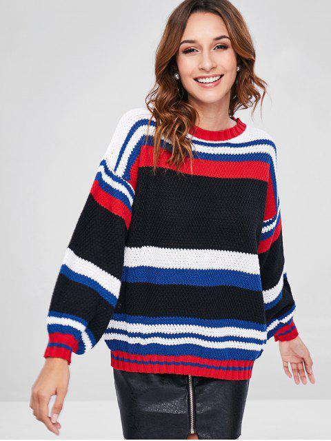 Suéter Estilo Túnica com Bloco de Cor e Gola Alta - Multi Um Tamanho Mobile