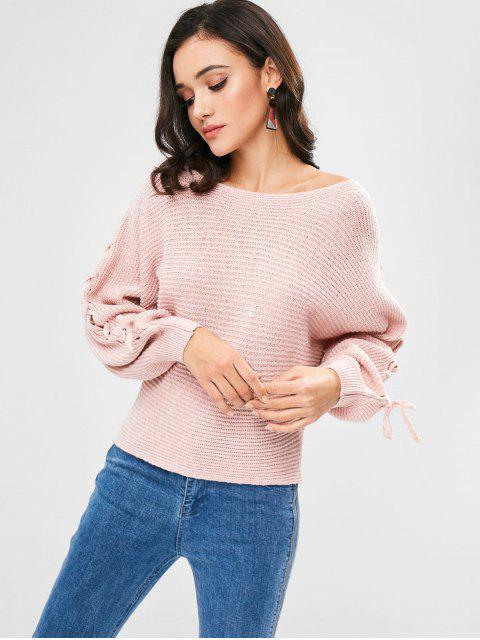 women Dolman Sleeves Lace Up Sweater - PIG PINK ONE SIZE Mobile