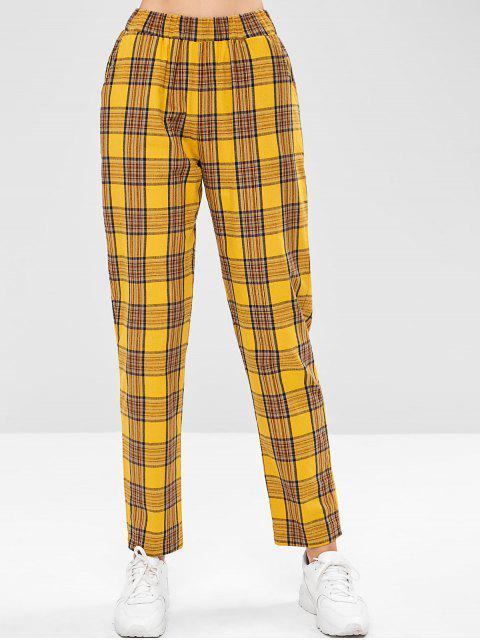 Pantalones rectos de tartán de cintura alta ZAFUL - Caucho Ducky Amarillo M Mobile