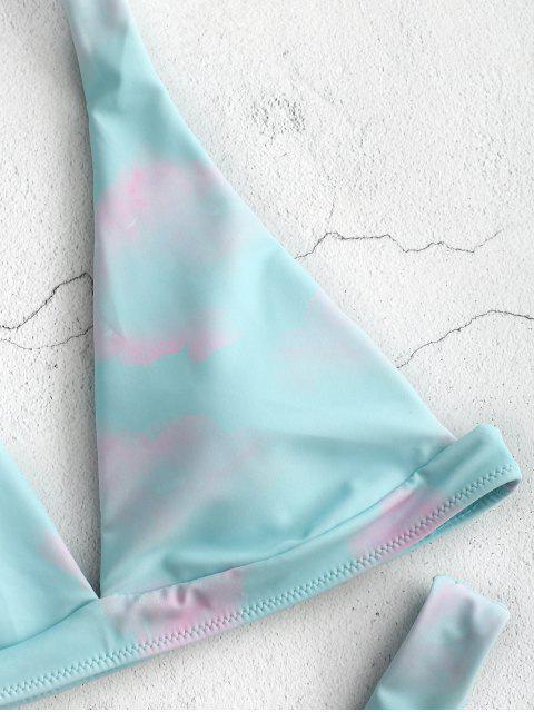 trendy ZAFUL Plunge Tie Dye Thong Bikini - ELECTRIC BLUE L Mobile