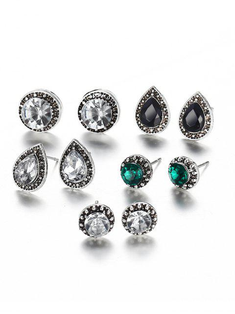 shop Faux Gem Inlaid Geometric Stud Earrings Set - MULTI-A  Mobile