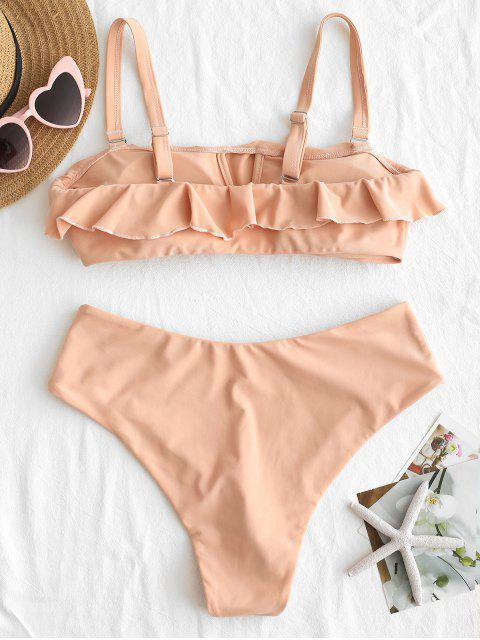 lady ZAFUL Ruffles Bandeau Bikini Set - ORANGE PINK S Mobile