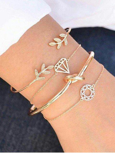 outfits Rhinestone Leaf Diamond Knot Cuff Bracelet Suit - GOLD  Mobile