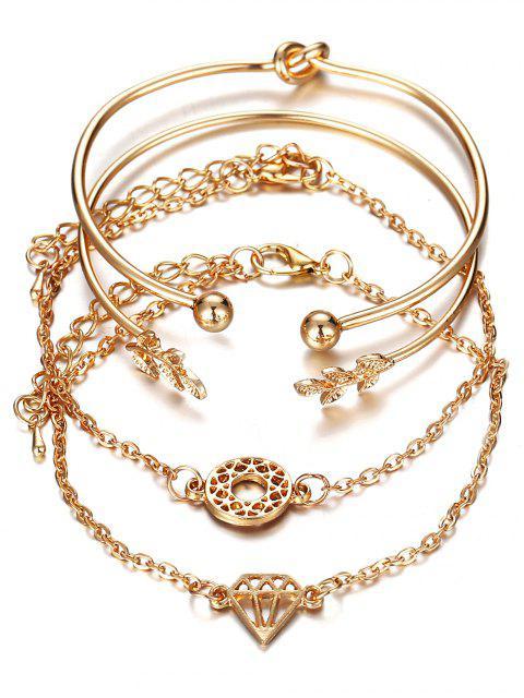 Ensemble de Bracelet Noué Feuille Diamant en Strass en Alliage - Or  Mobile