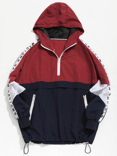 Color Block Zipper Striped Hoodie Jacket - Red L