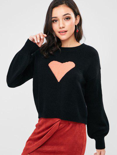 Lantern Sleeve Heart Graphic Valentine Sweater - Black M