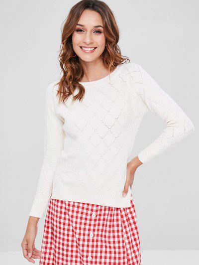 Geometric Slit Raglan Sleeve Sweater - White