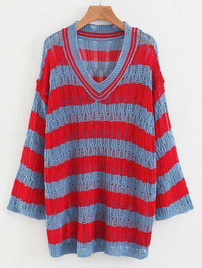 Striped Loose Knit V Neck Sweater - Multi