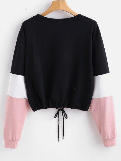 b90dfb5c4990 ... Pullover Color Block Sweatshirt - Pink S