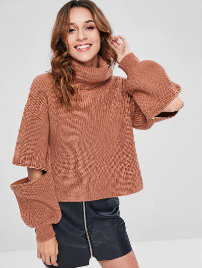 b17b0b9405f ZAFUL Lantern Sleeves Turtleneck Chunky Sweater - Tiger Orange ...
