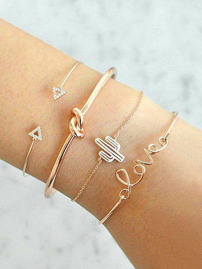 Vintage Rhinestone Arrow LOVE Alloy Bracelet Set - Gold