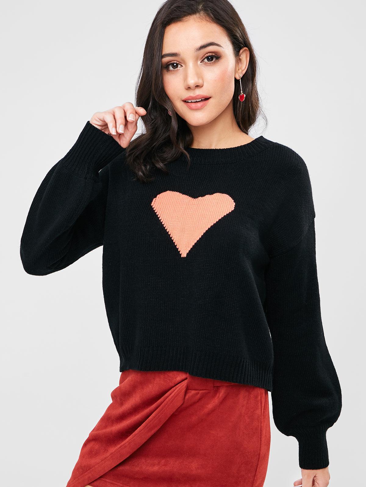 Lantern Sleeve Heart Graphic Valentine Sweater