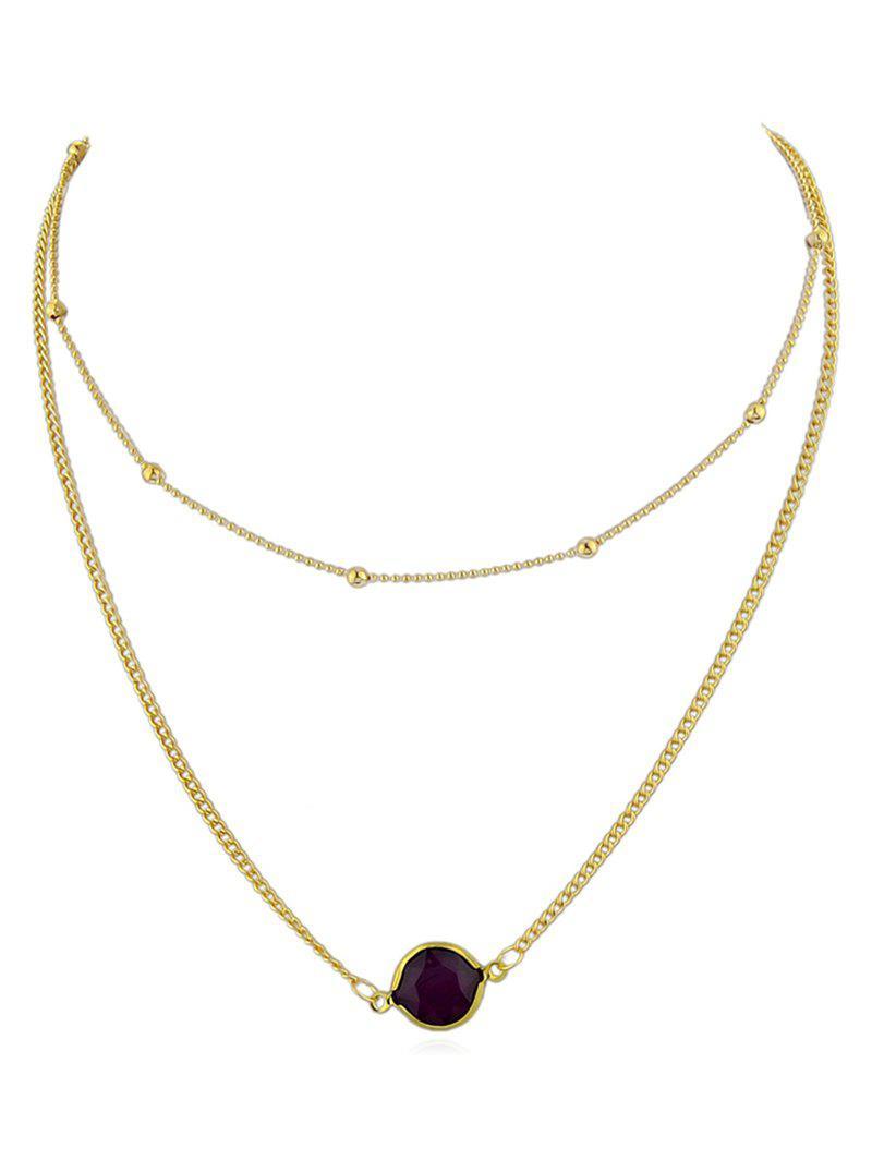 Layer Artificial Gem Pendant Chain Necklace