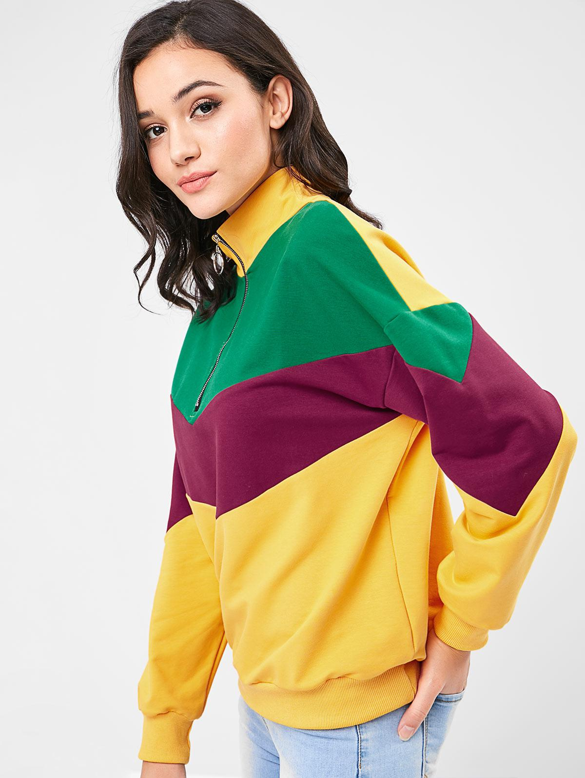 ZAFUL Zip Front Color Block Sweatshirt