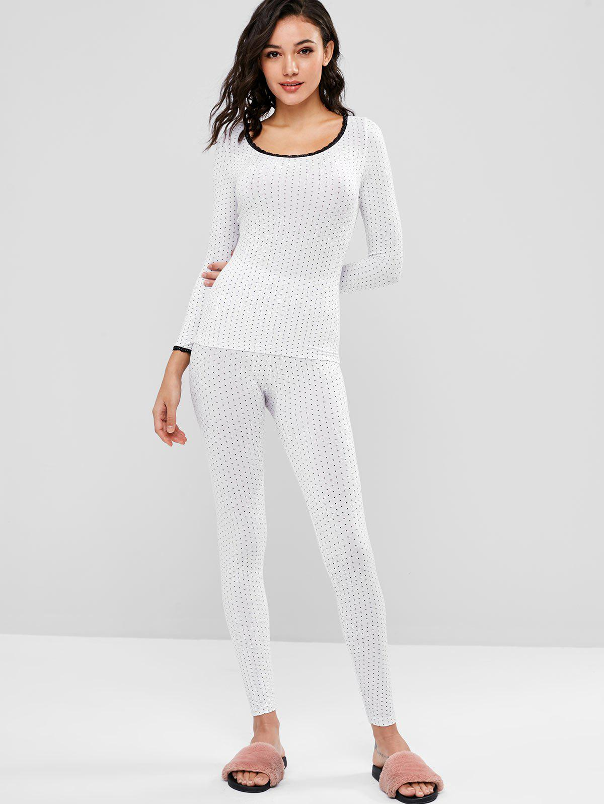 Printed Long Underwear Thermal Top and Pants Set 278597202
