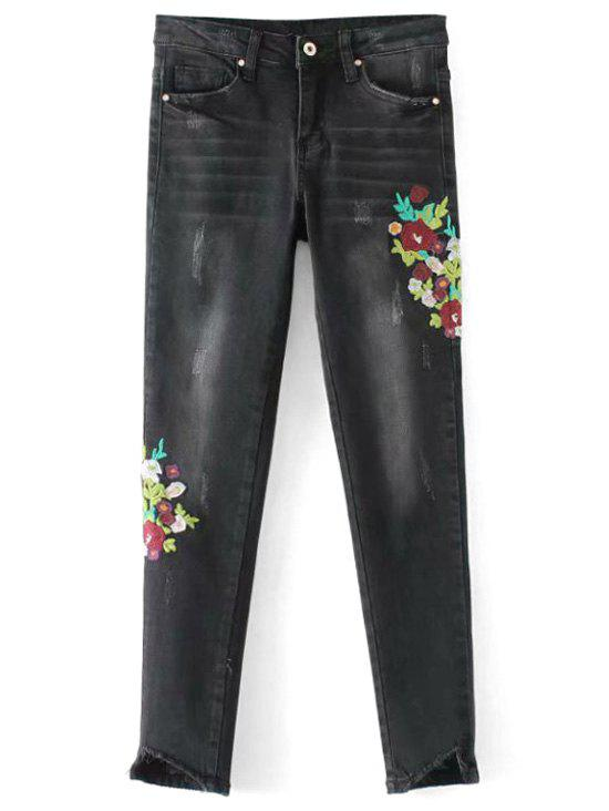 Frayed Floral Embroidered Skinny Jeans 279840602