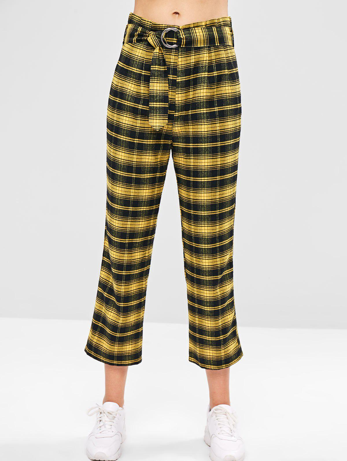 ZAFUL Belted Plaid Straight Pants, Sun yellow