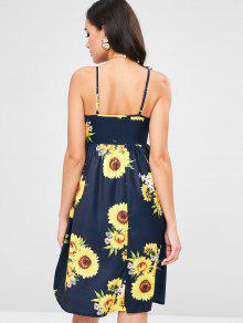 2b6411f67b0 27% OFF  2019 Sunflower Print Tie Front Sundress In DARK SLATE BLUE ...