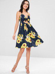 De Azul Print L Tie Pizarra Front Oscuro Sundress Sunflower Z8XqqF