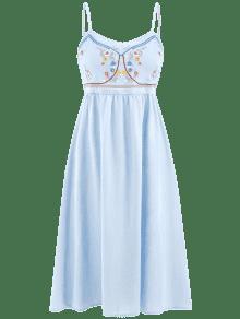 Vestido Fruncido Suave Camisero Azul Bordado Floral 5fTpfnrq