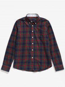 جيب الصدر زر أسفل قميص فحصها - أحمر Xs