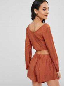 095f67d3911f 31% OFF] 2019 Long Sleeve Crop Top And Shorts Co Ord Set In SHOCKING ...
